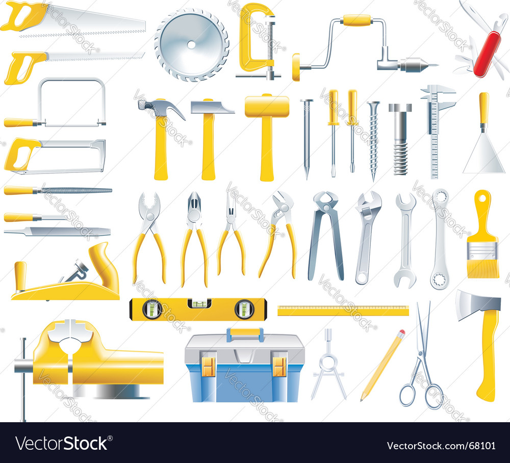 Woodworker tools icon set vector