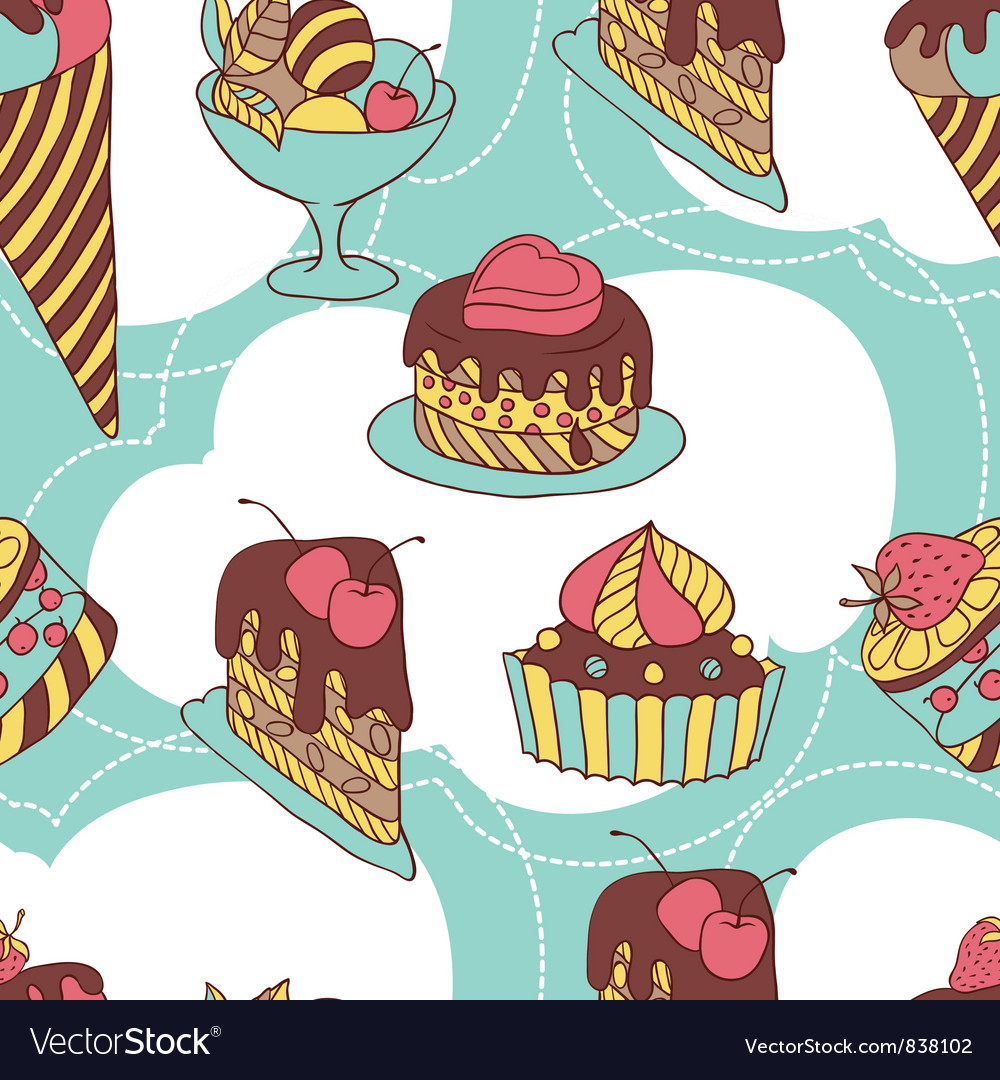 Holiday seamless pattern from sweet cakes and vector