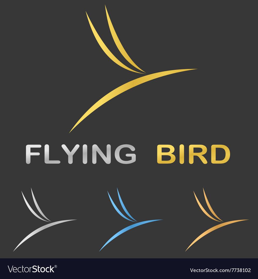 Metallic stylized flying bird logo design