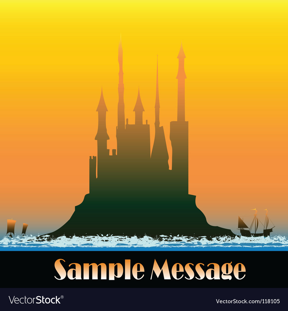 Sunburst castle vector