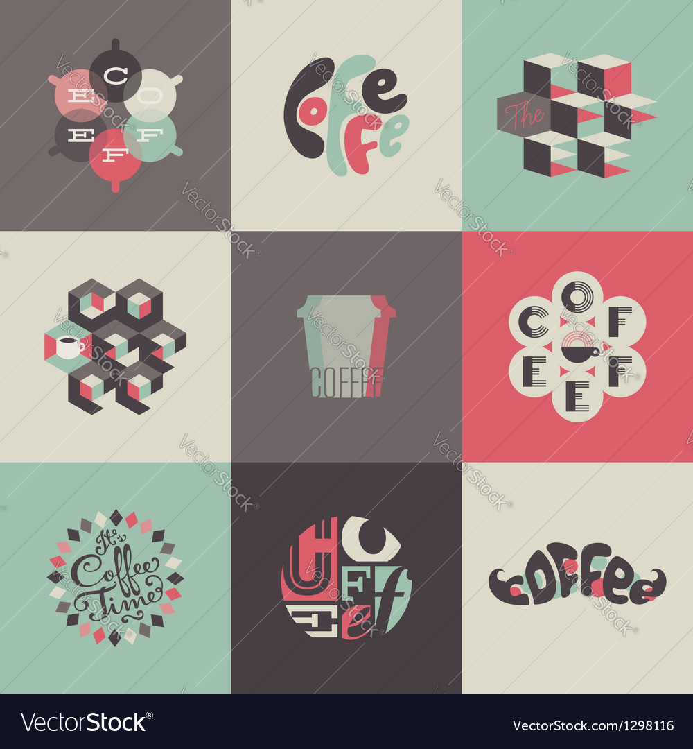 Coffee emblems and labels  set of posters vector