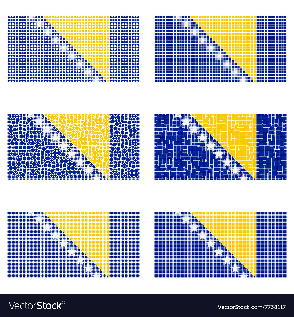 Mosaic bosnia and herzegovina flag set