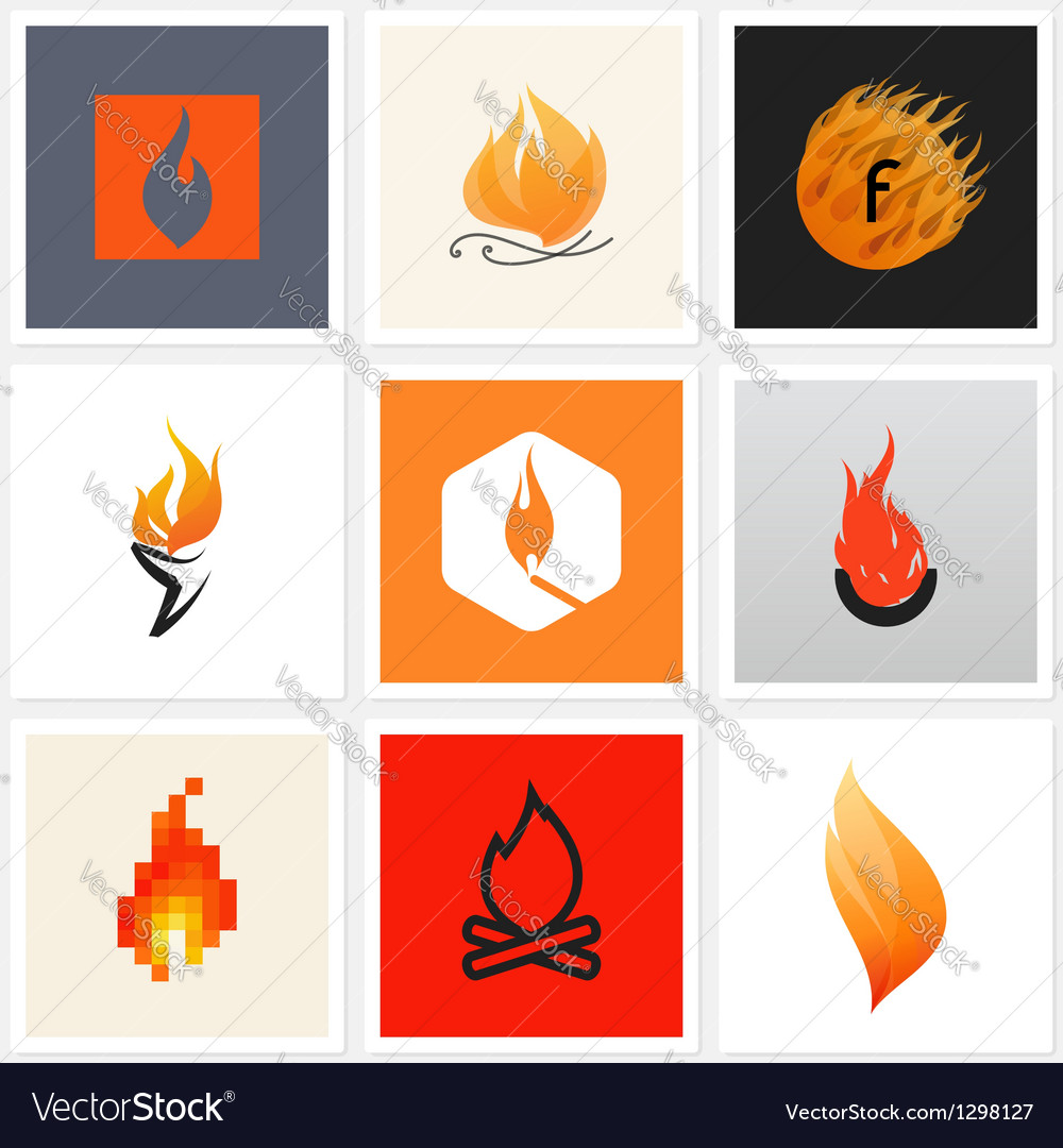 Flame  set of posters and design elements vector