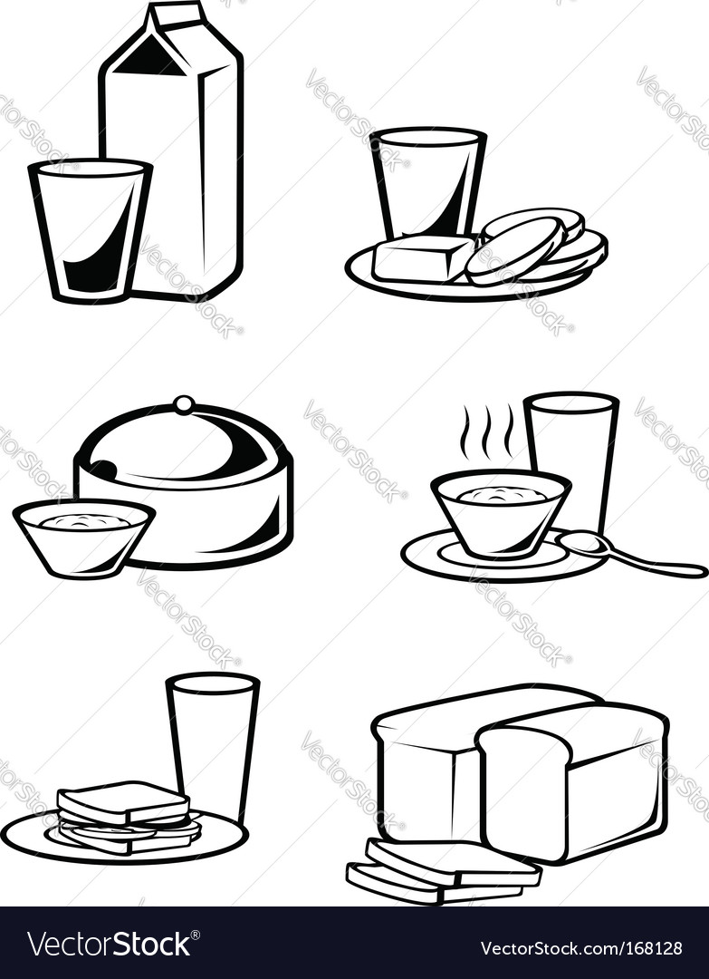 Breakfast symbols vector