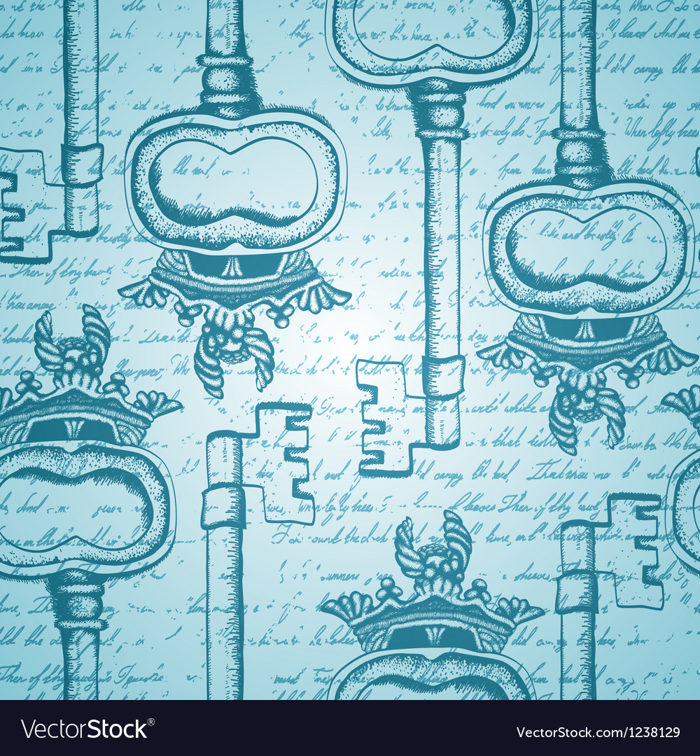 Seamless vintage pattern with antique handdrawn vector