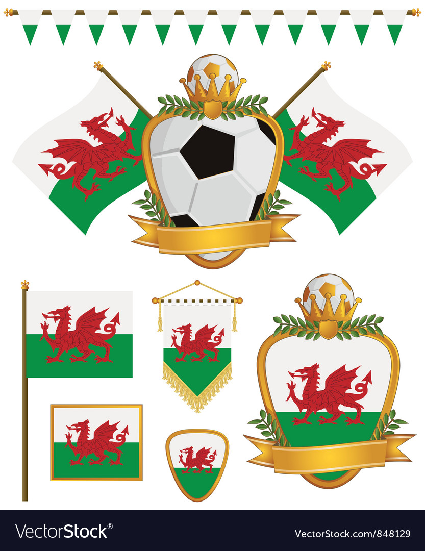 Wales flags vector