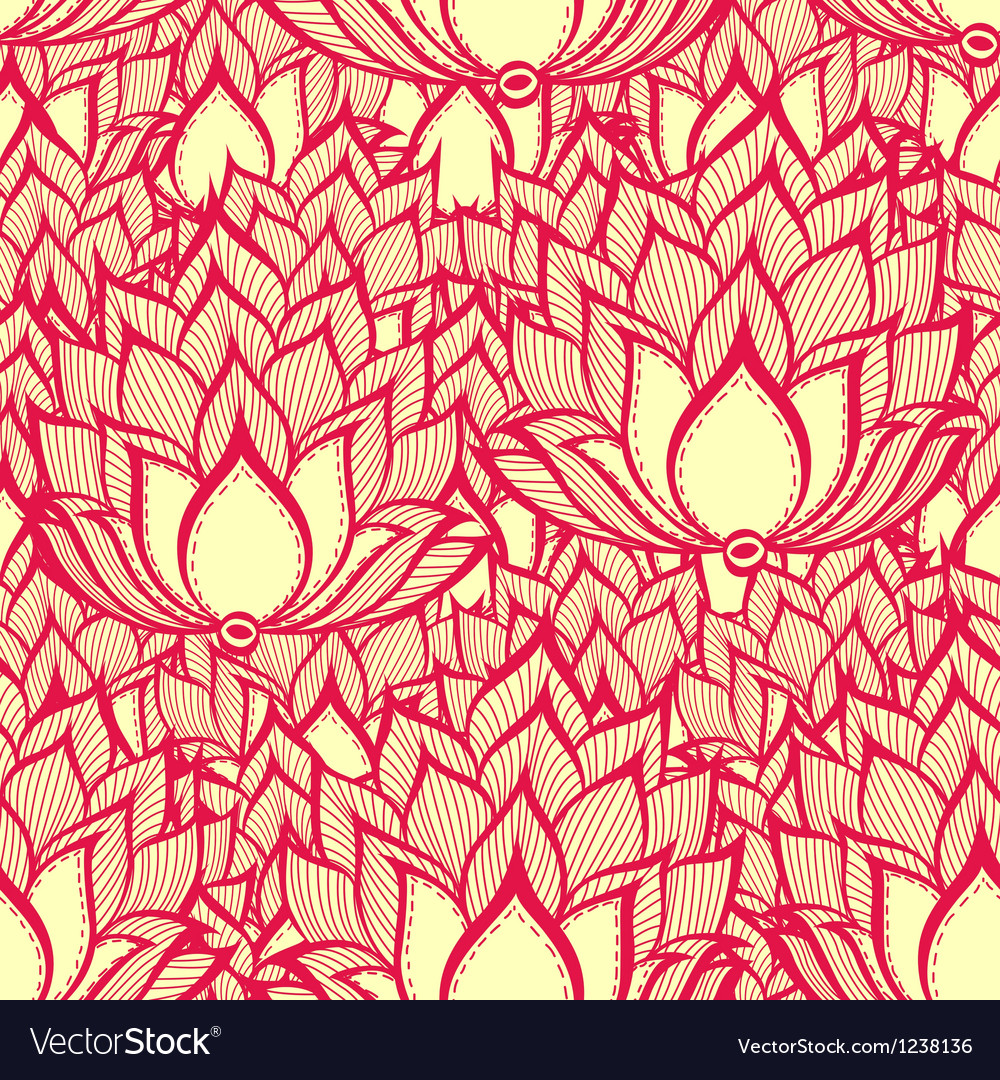 Spring pattern with handdrawn flowers vector