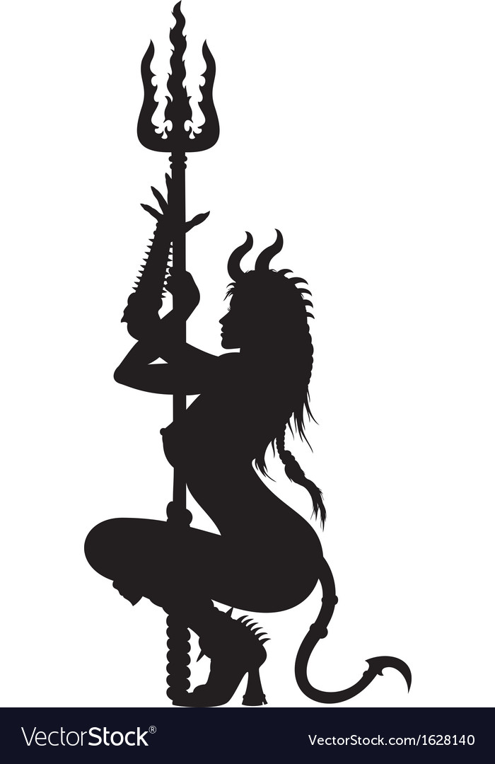 Devil woman striptease silhouette vector