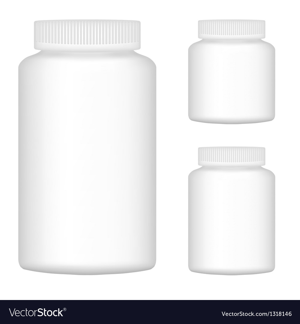 White blank plastic bottle set for packaging vector