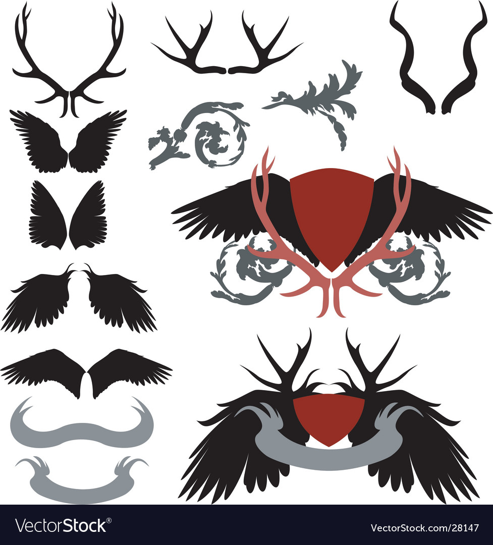 Antler and wings heraldry vector