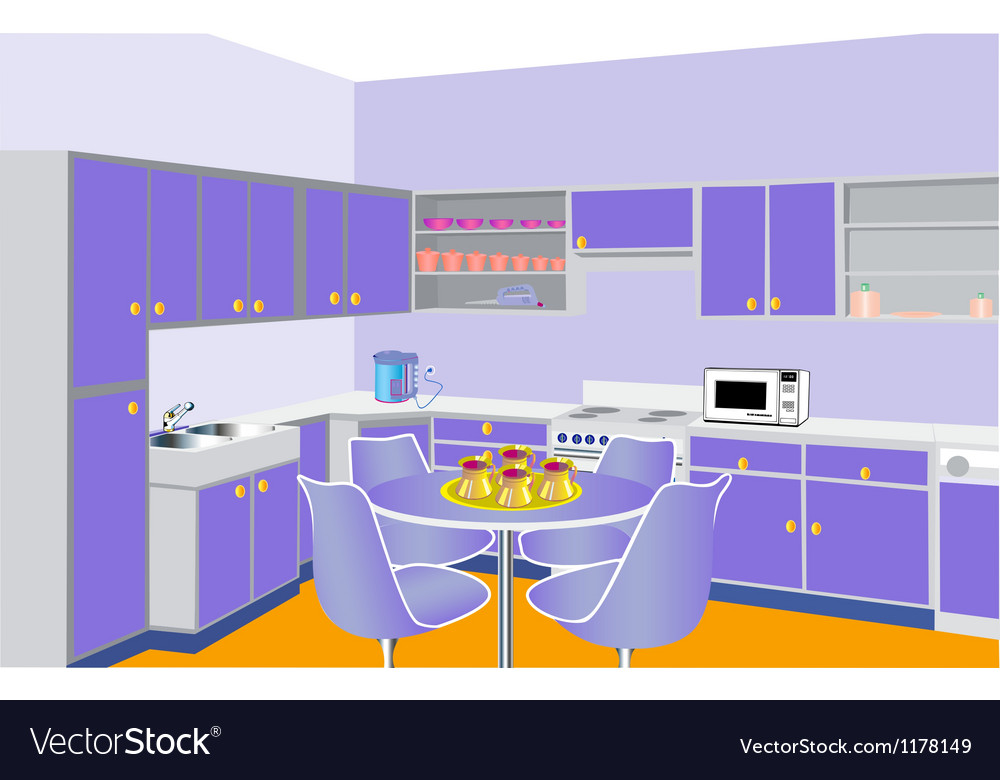 Furniture on kitchen by lilac set modern vector