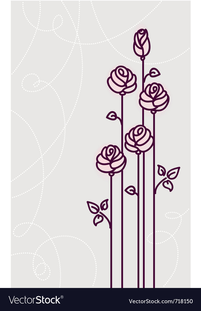 Flower roses card wedding background vector