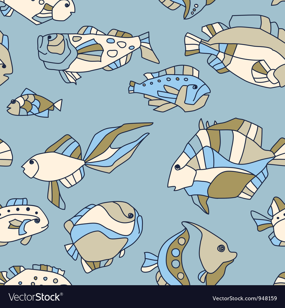Seamless pattern aquarium fish wave vector