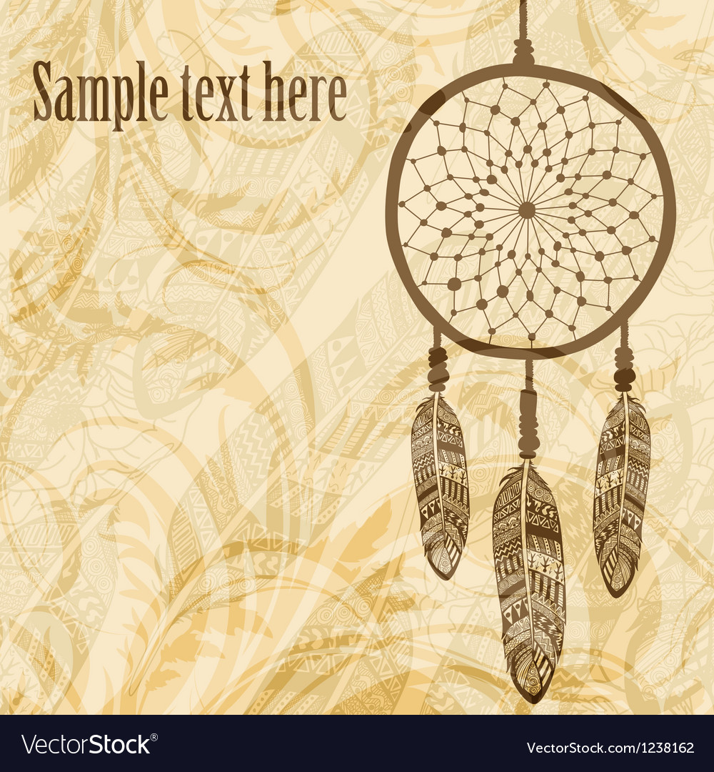 Vintage background with dream catcher vector