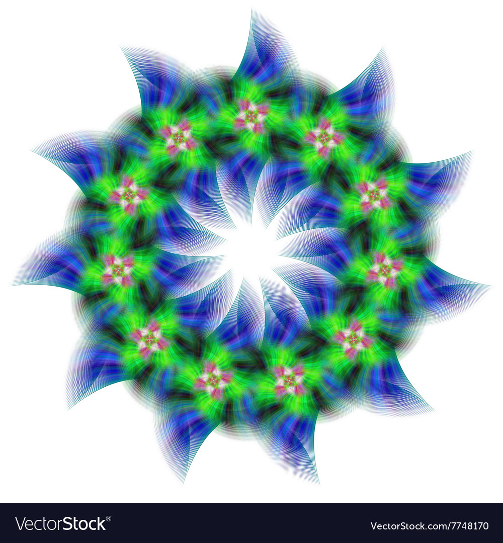 Abstract circular fractal star design