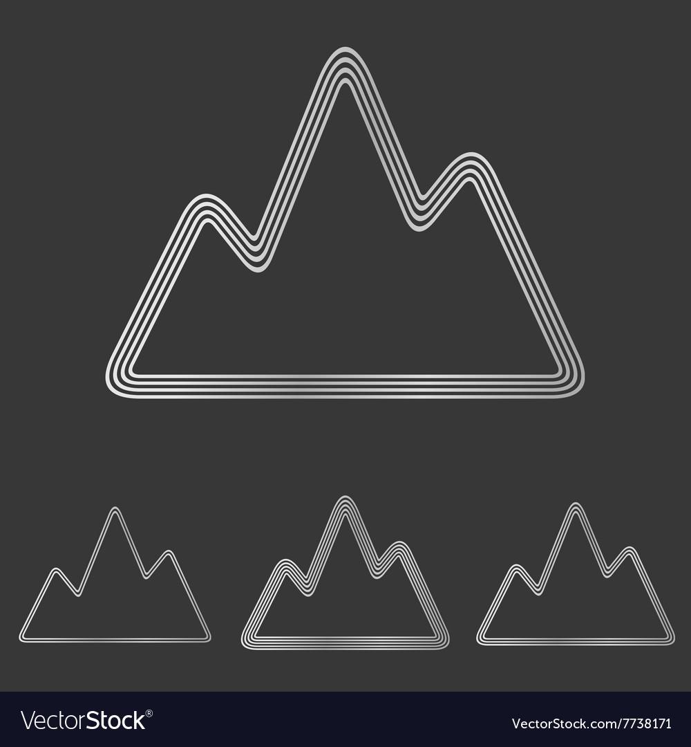 Silver line mountain logo design set