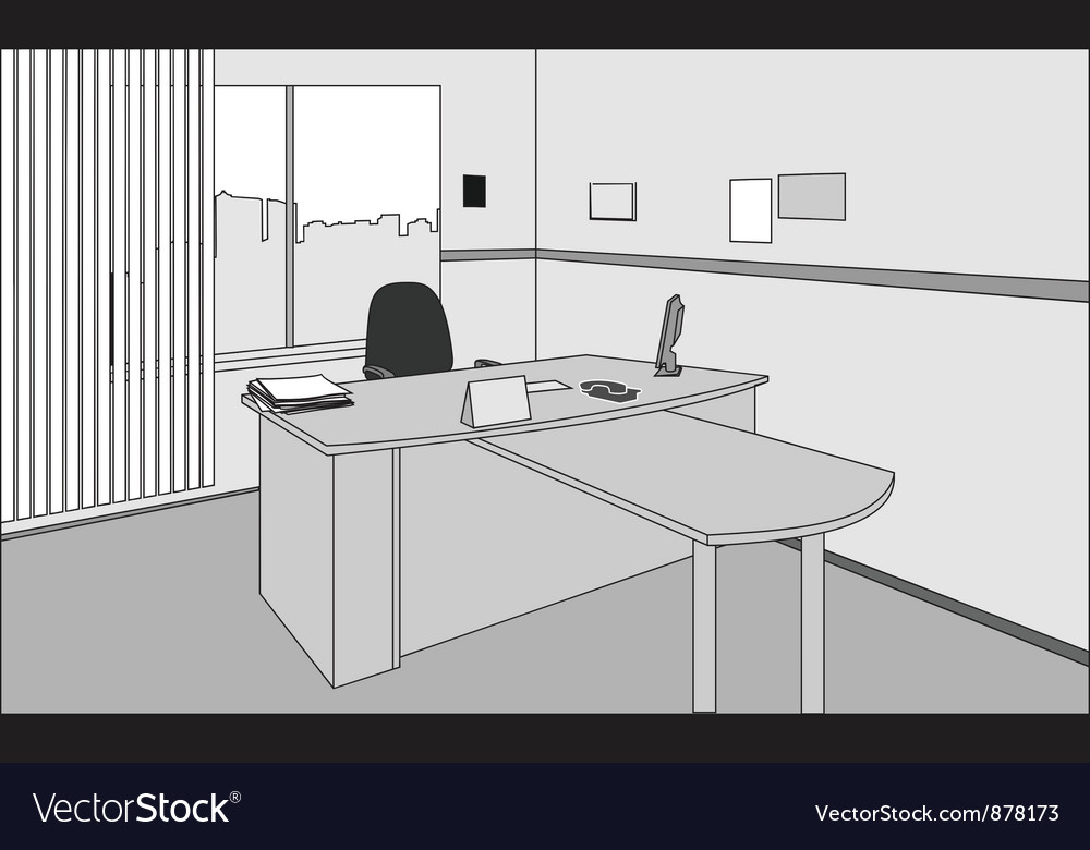 Office desk vector
