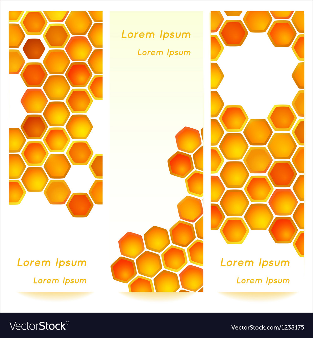 Vertical banners with honeycomb cells background vector