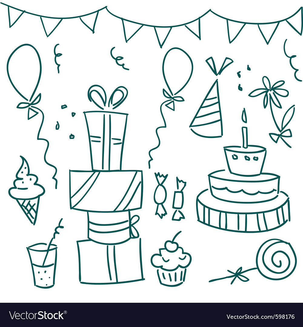 Birthday sketches vector by kariiika image 598176 vectorstock