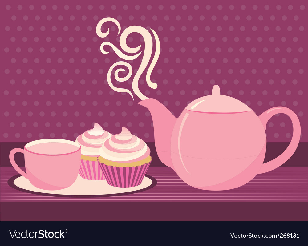 Cupcake and tea vector
