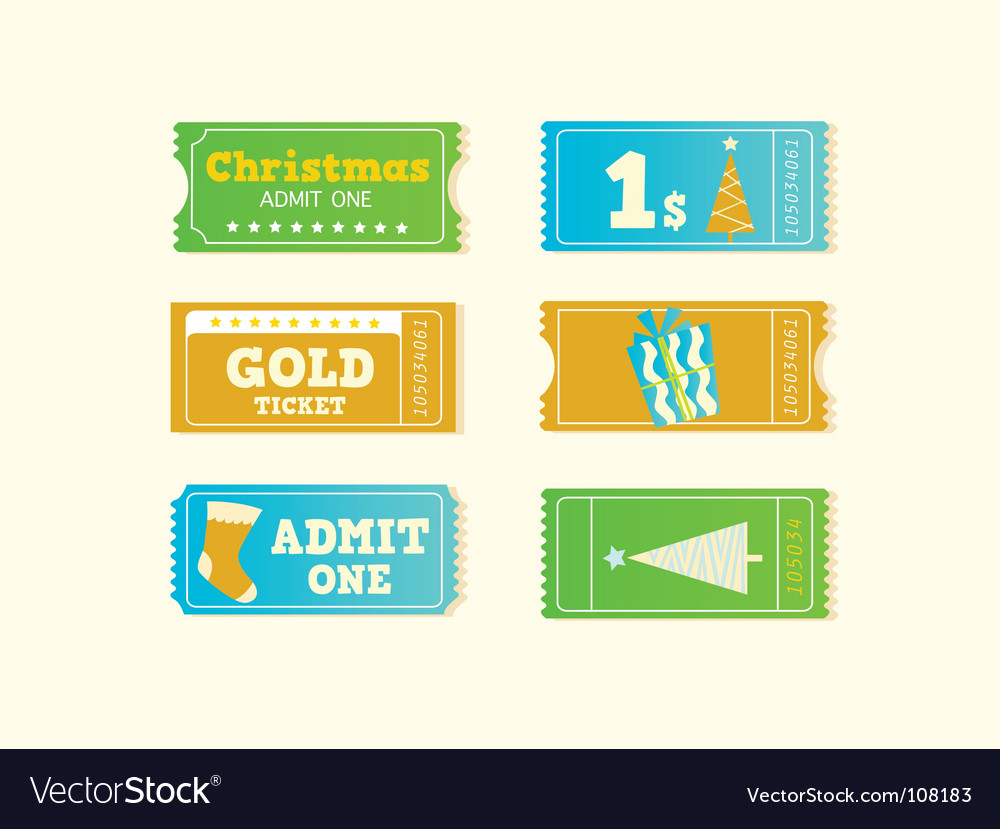 Christmas tickets vector