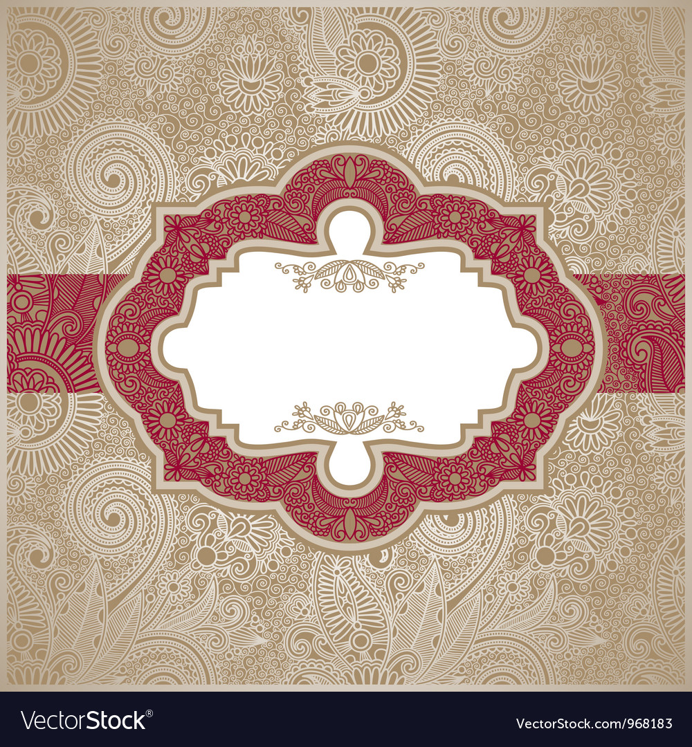 Red and gold paisley square envelope vector