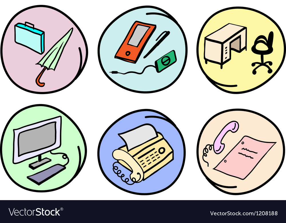 Set of office supplies on round background vector
