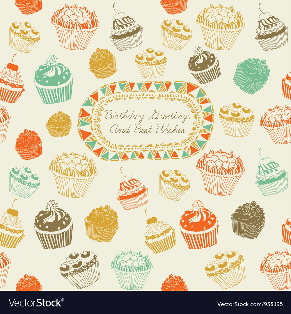 Cupcakes birthday card vector