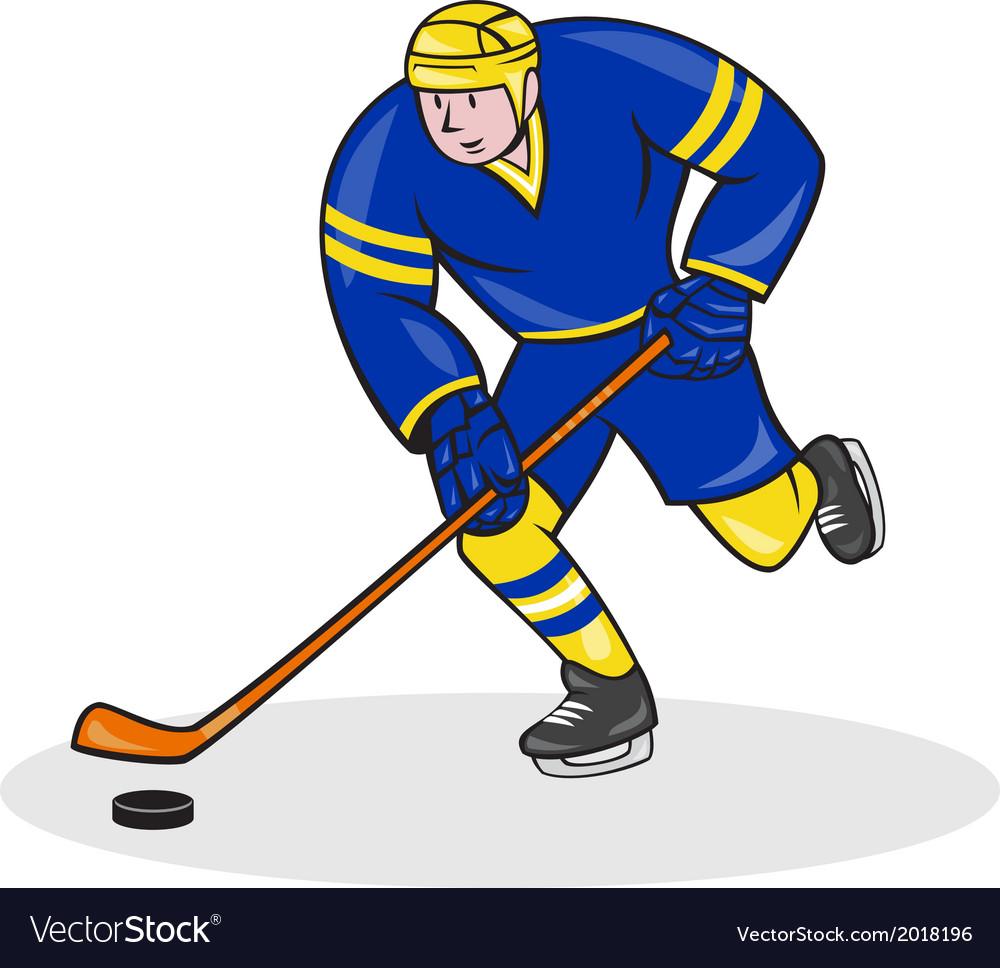Meine Cartoon Hockey Shark MIT Stock UND Puck stock