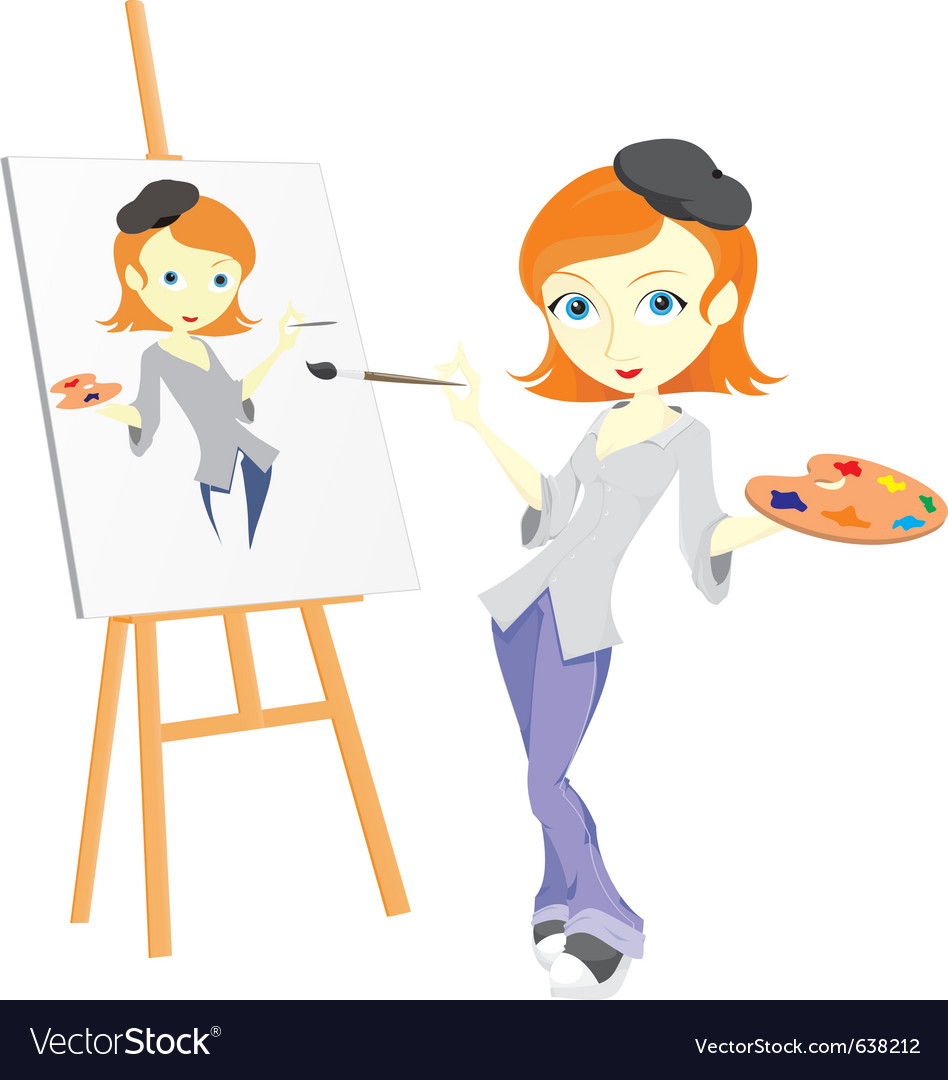 Female paint artist vector