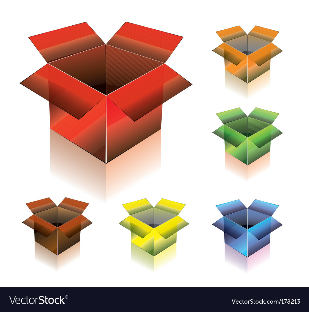 Three dimensional box with shadow vector