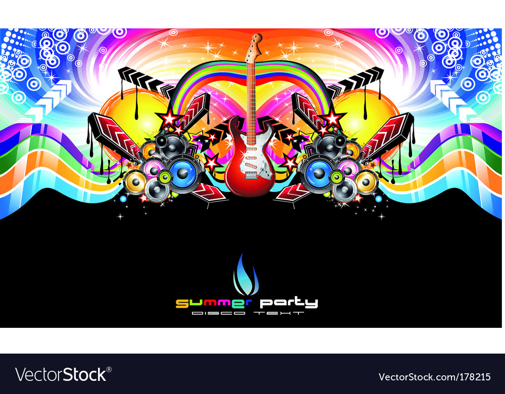 Colorful discotheque dj event flyer vector