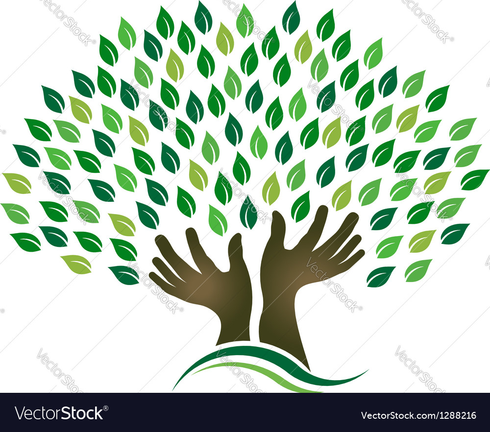 Hoping tree hands vector