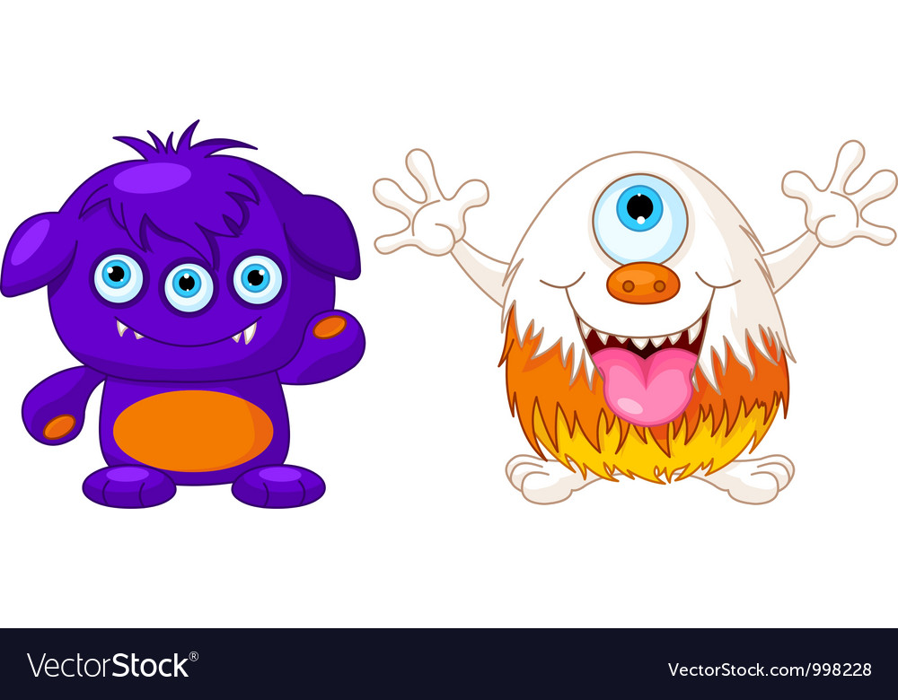 Two cute monsters vector