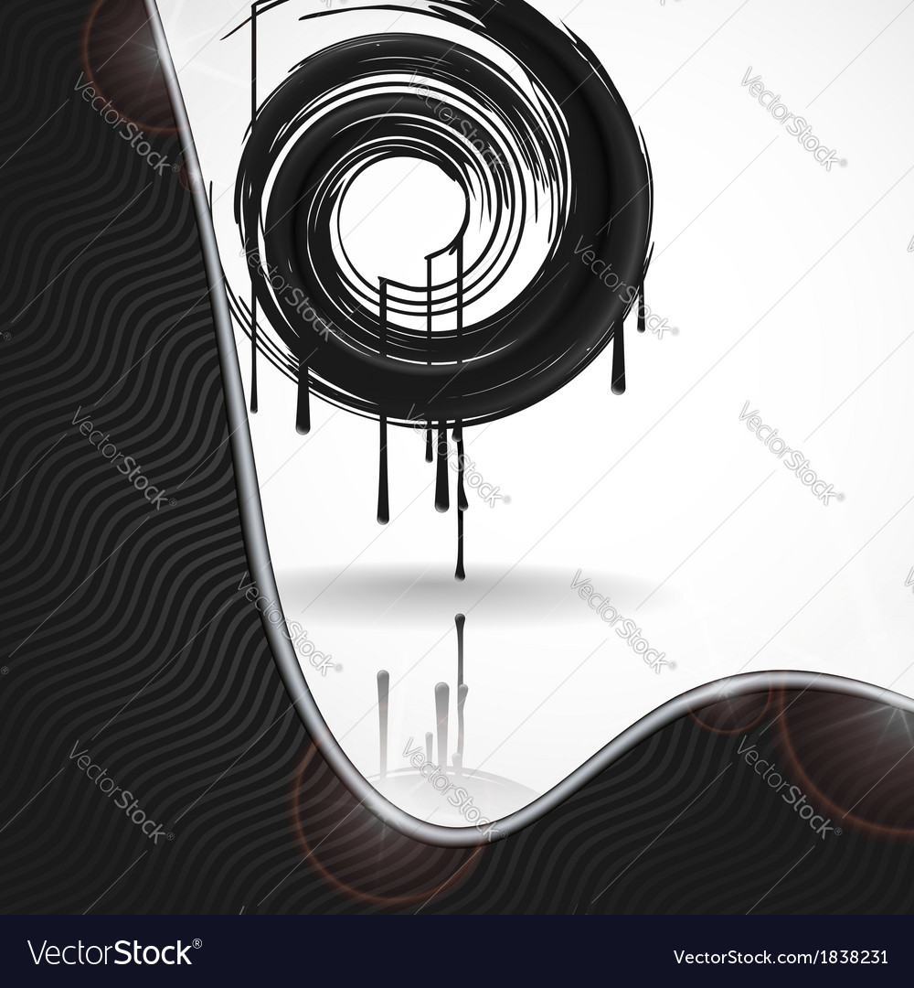 Black paint splashes circle vector