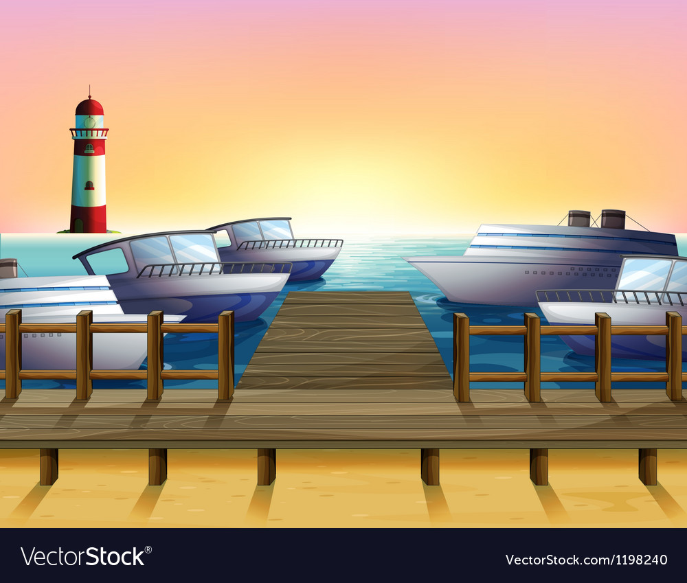 Port and the sunset view vector
