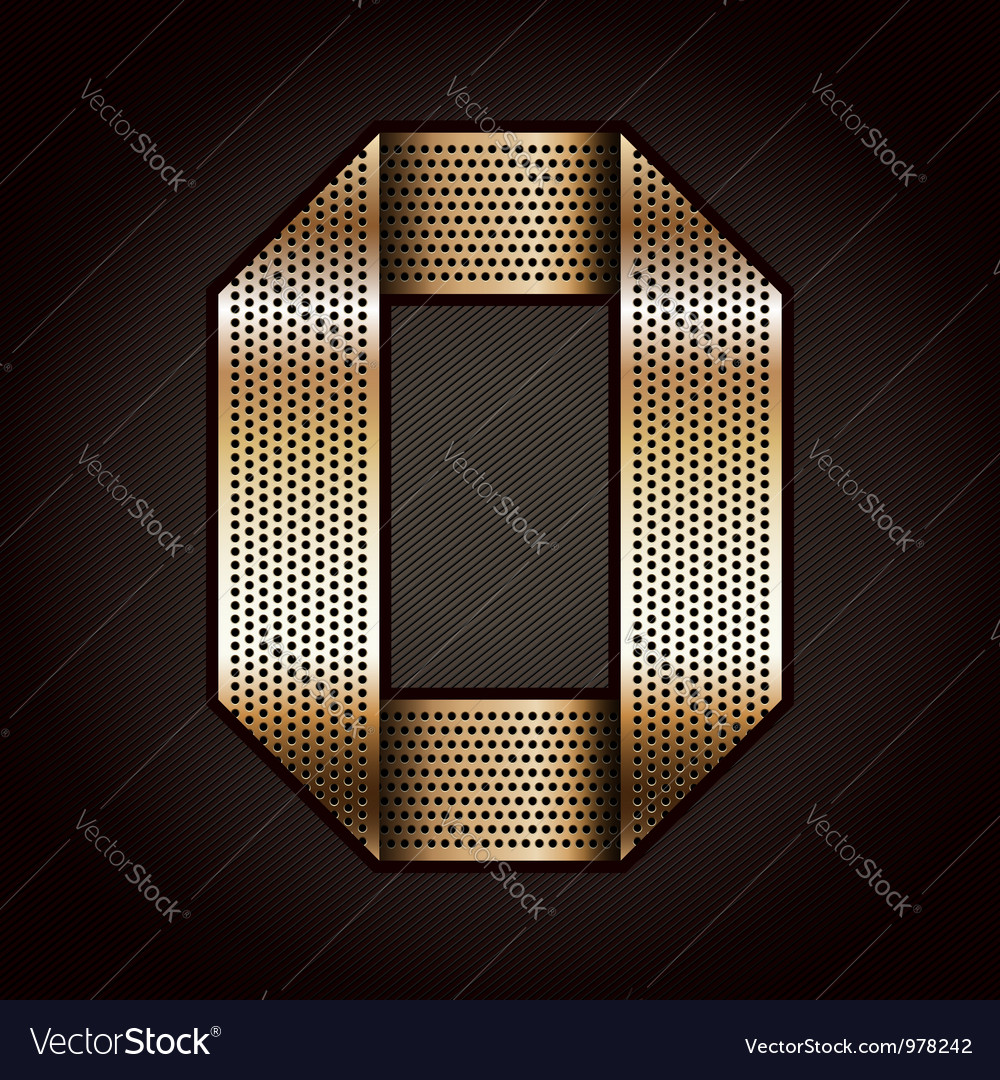 Letter metal gold ribbon  o vector