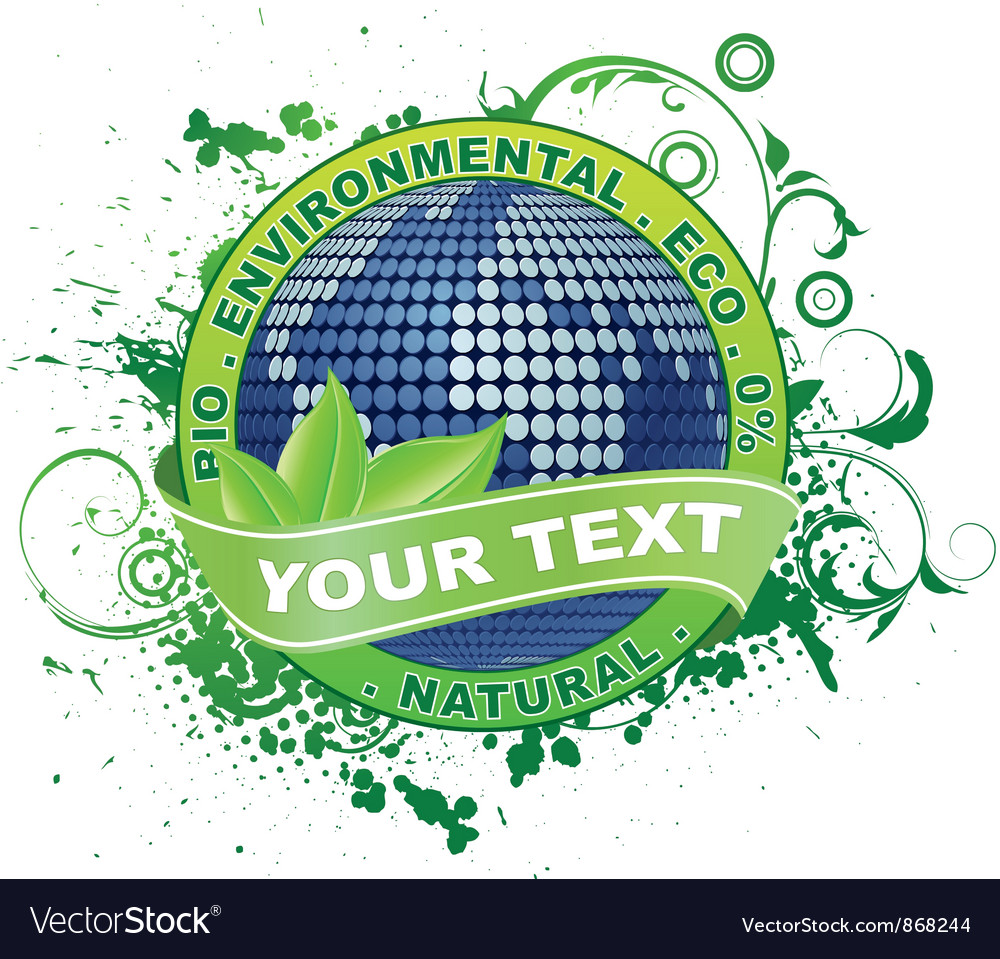 Free label with globe vector