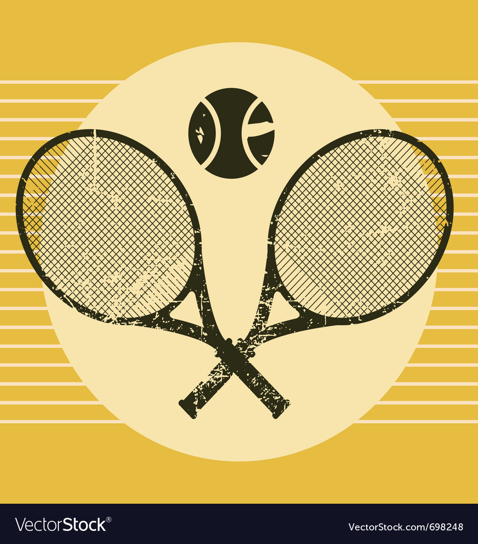 Vintage tennis equipments vector