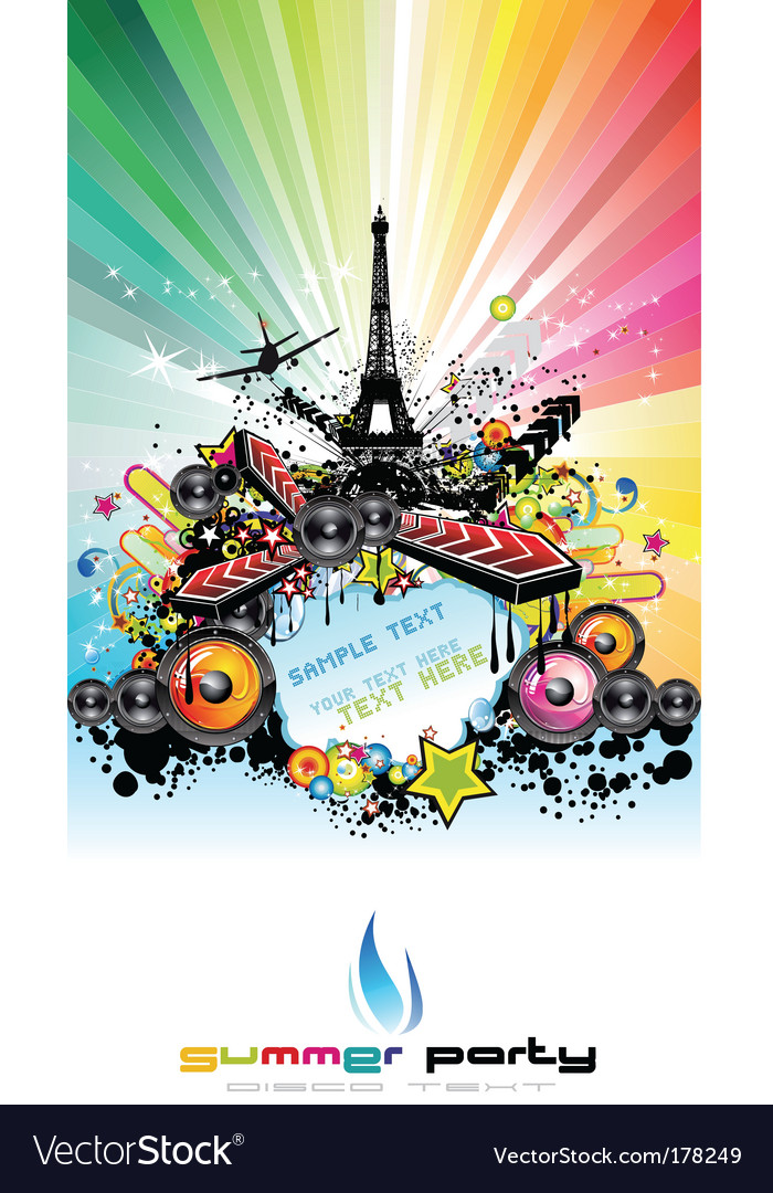 Paris disco event background vector