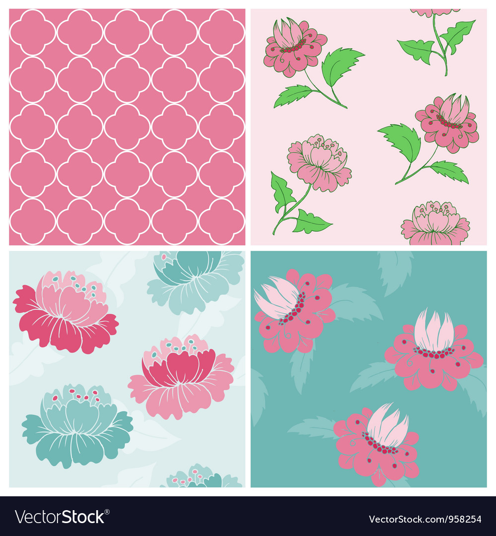 Set of seamless vintage floral backgrounds vector
