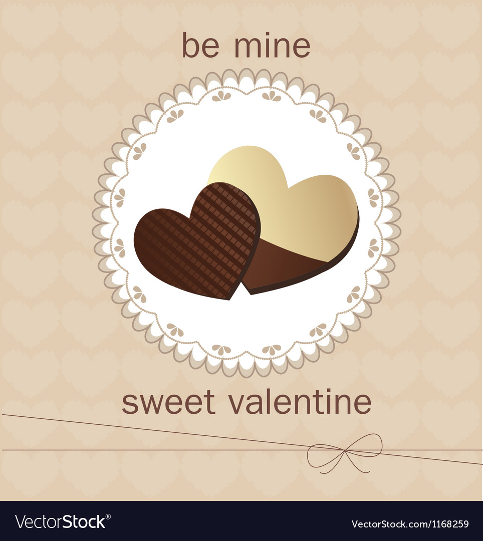 Valentines day card with chocolate vector