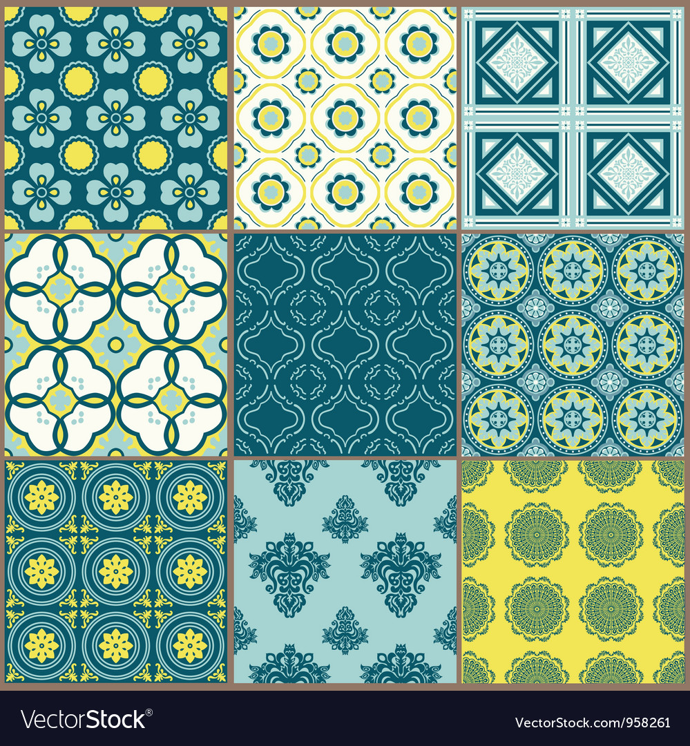 Seamless backgrounds collection  vintage tile vector