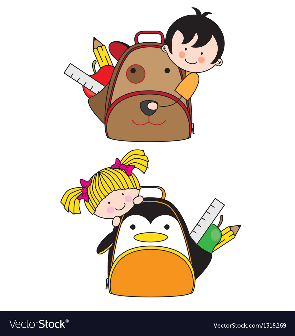Children with backpacks vector