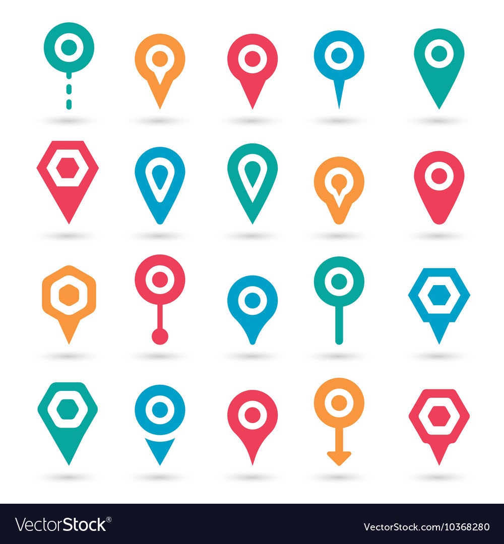 Colorful map pointer icons set vector by alvarocabrera - Image ...: https://www.vectorstock.com/royalty-free-vector/colorful-map...