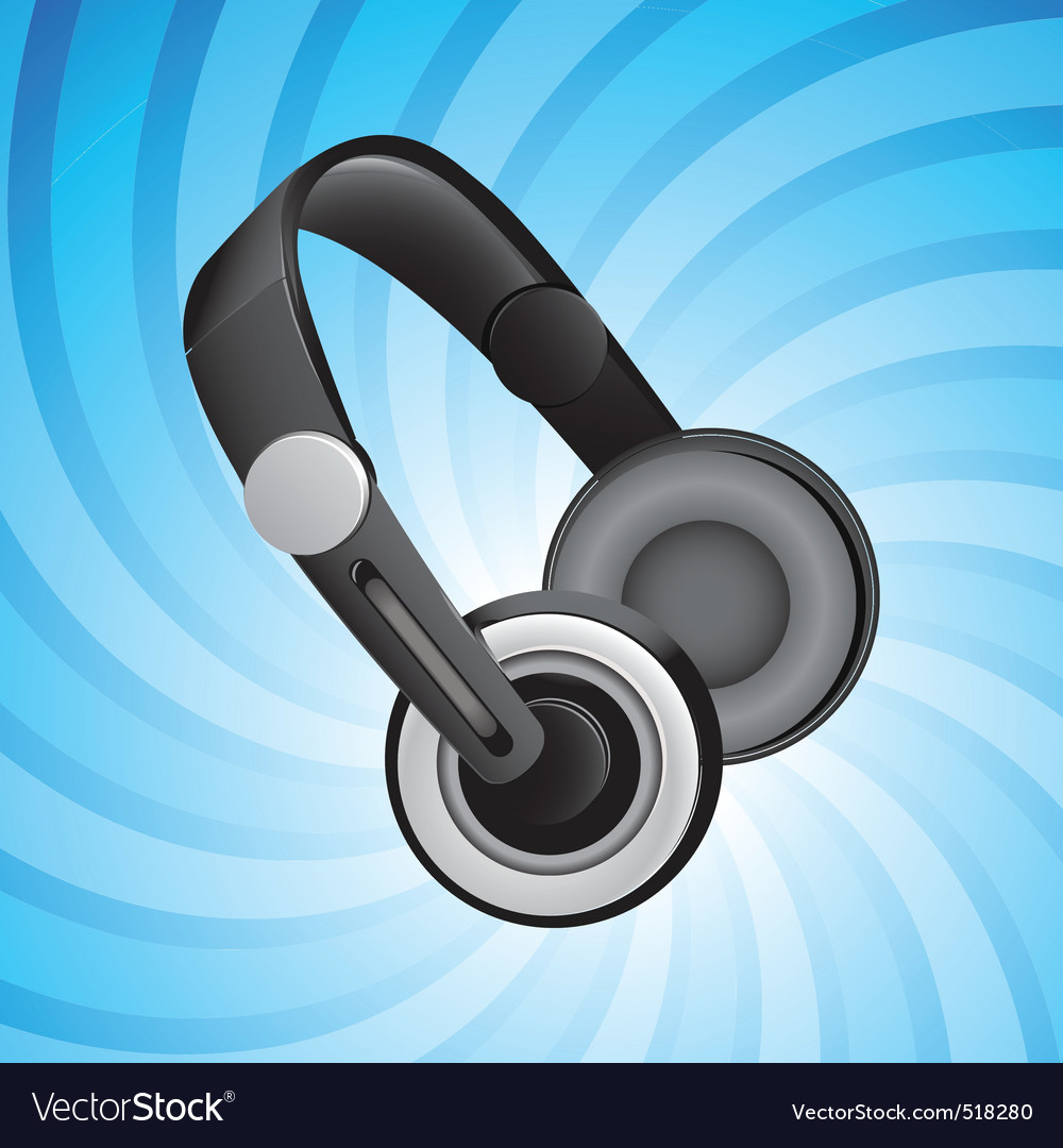 Headphones on blue vector