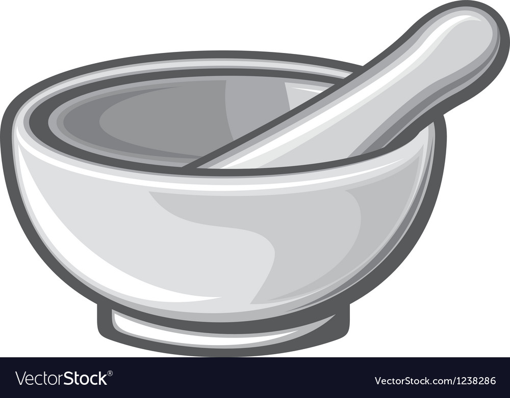 White porcelain mortar and pestle vector