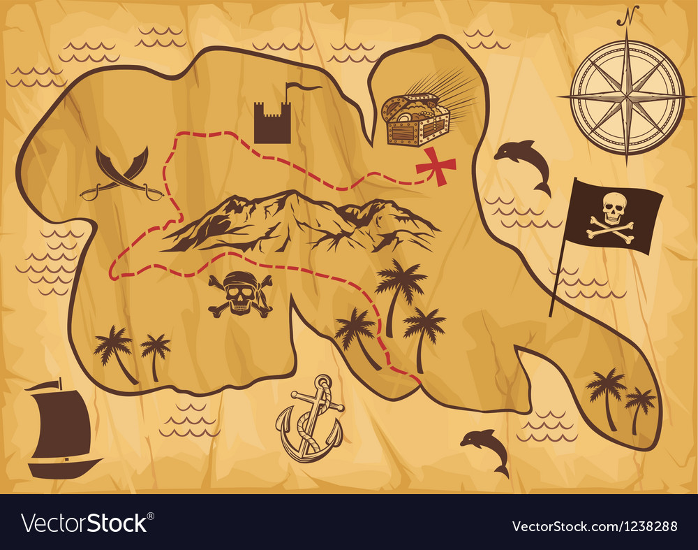 Map of treasure island vector