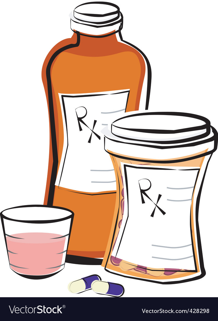 Liquid medicine and pills vector