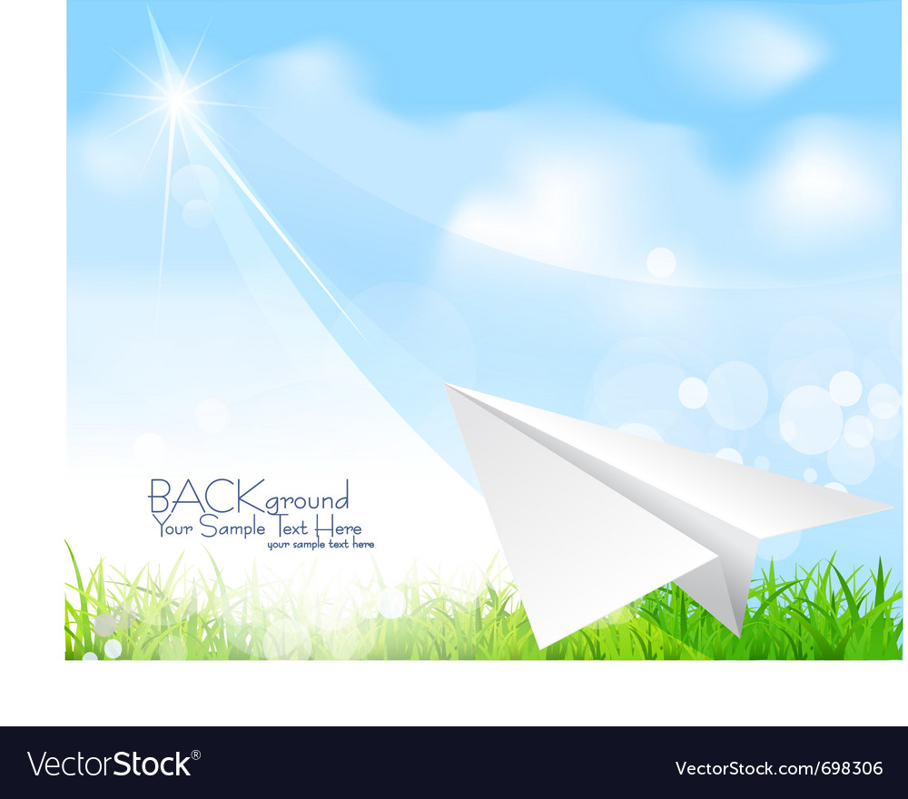 Flying paper plane background vector